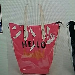 Pink Haley Clear tote with colored inside pouch